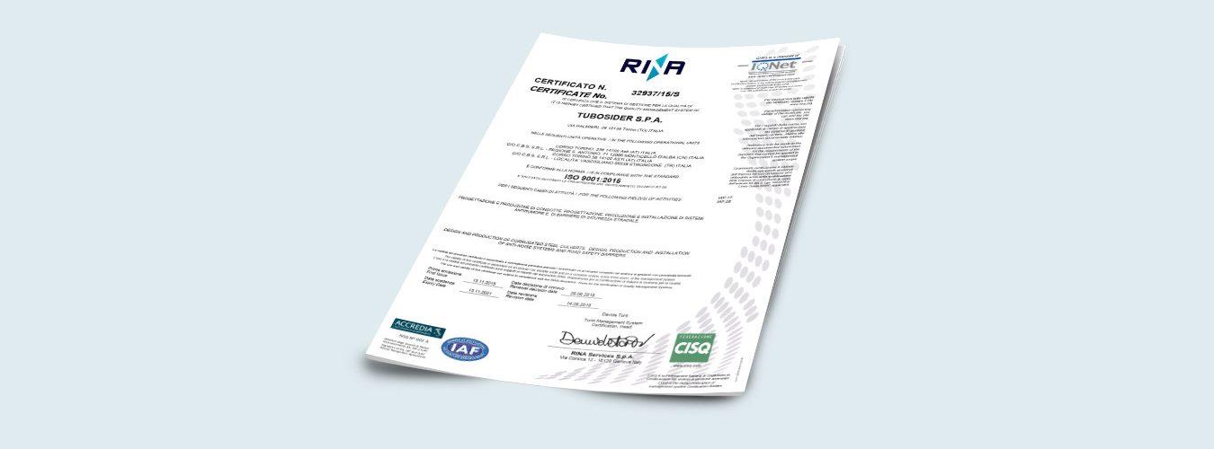 Certificato 32937_15_S ISO9001_2015 scad 13-11-2021