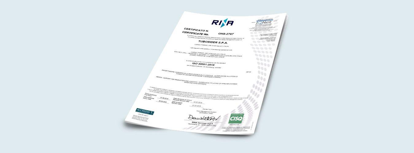 Certificato ISO 45001_2018