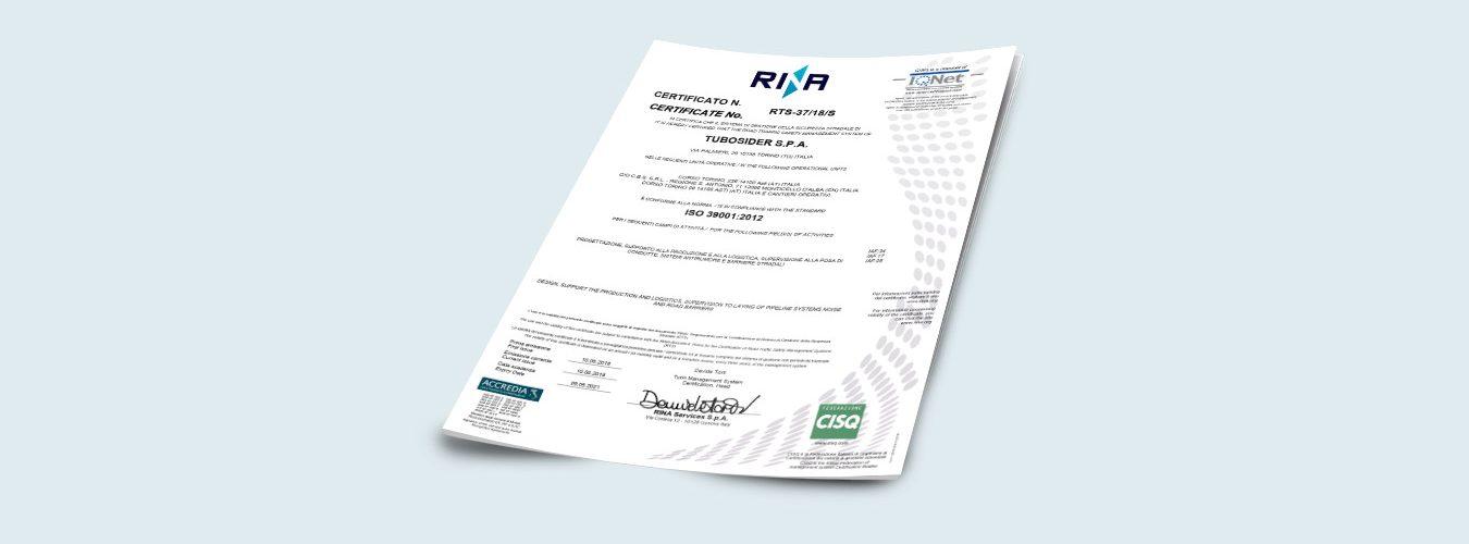 Certificato ISO39001_2012